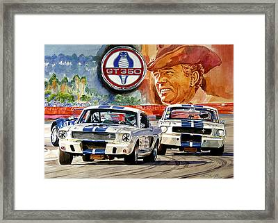 The Thundering Blue Stripe Gt-350 Framed Print by David Lloyd Glover