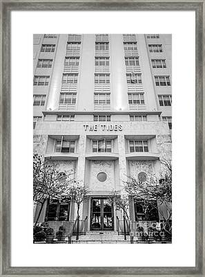 The Tides Art Deco Detail South Beach Miami - Black And White Framed Print