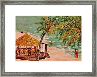 The Tiki Bar Is Open Framed Print