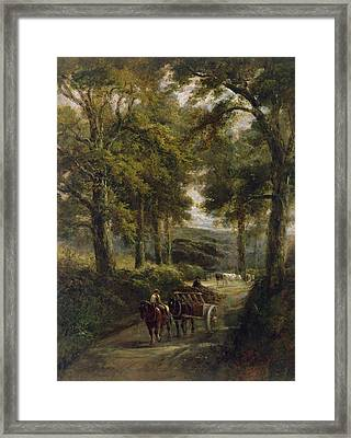 The Timber Wagon Oil On Canvas Framed Print by Henry Earp