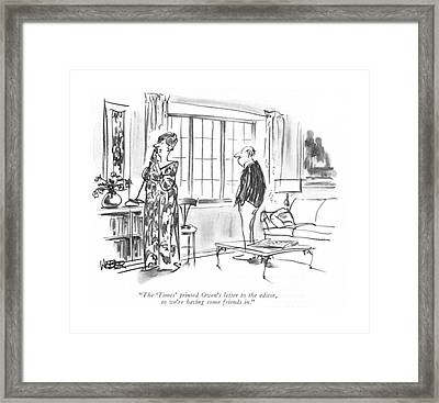 The 'times' Printed Owen's Letter To The Editor Framed Print by Robert Weber