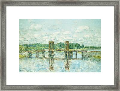 The Toll Bridge New Hampshire Framed Print by Childe Hassam