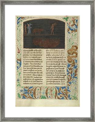 The Torment Of Thieves Tondal Leads A Cow Framed Print by Litz Collection