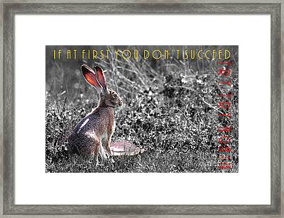 The Tortoise And The Hare Try Try Again 40d12379 Black And White Framed Print by Wingsdomain Art and Photography