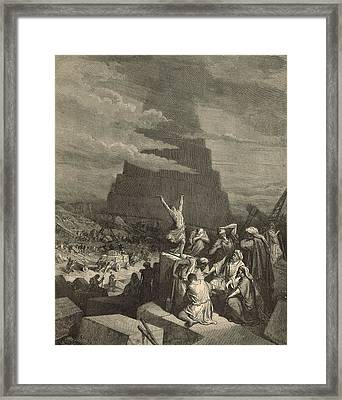 The Tower Of Babel Framed Print by Antique Engravings