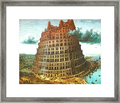 The Tower Of Babel Framed Print by Miguel Rodriguez
