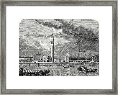 The Tower Of St. Marks In Venice Struck And Damaged Framed Print by English School
