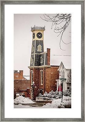 The Town Clock In December Framed Print