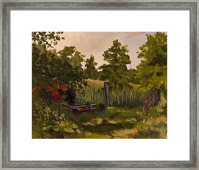 The Tractor By The Gate Framed Print by Janet Felts