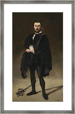 The Tragedian Actor Rouviere As Hamlet Framed Print by Edouard Manet