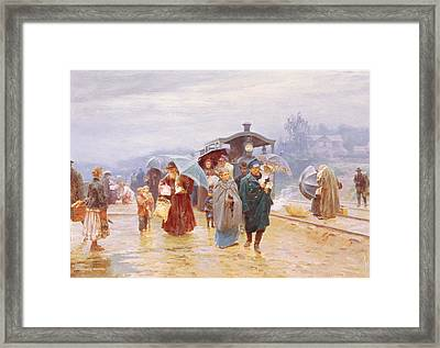 The Train Has Arrived, 1894 Framed Print by Nikolaj Alekseevich Kasatkin