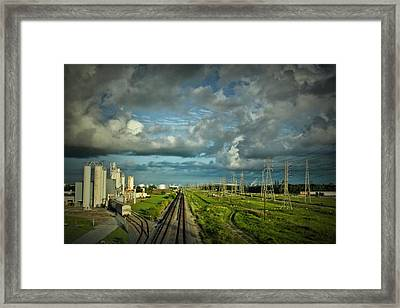 The Train Yard Framed Print by Linda Unger