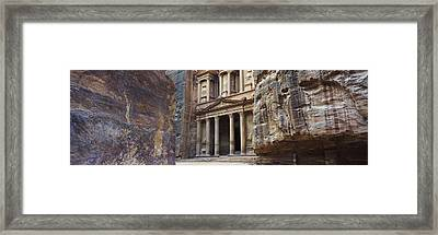 The Treasury Through The Rocks, Wadi Framed Print by Panoramic Images