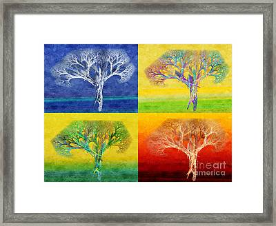 The Tree 4 Seasons - Painterly - Abstract - Fractal Art Framed Print by Andee Design