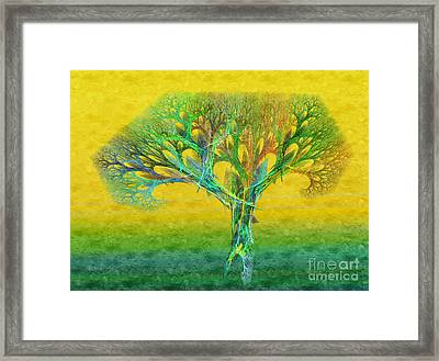 The Tree In Summer At Sunrise - Painterly - Abstract - Fractal Art Framed Print by Andee Design