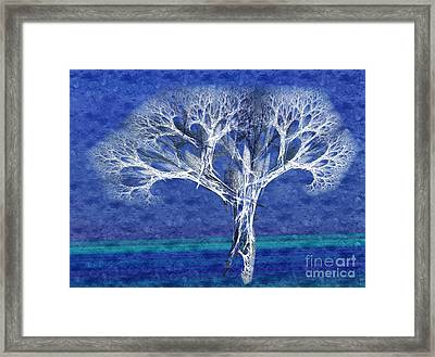 The Tree In Winter At Dusk - Painterly - Abstract - Fractal Art Framed Print by Andee Design
