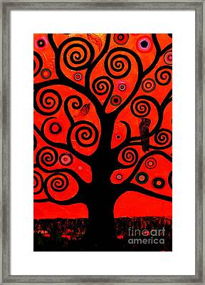 The Tree Of Life Red Framed Print