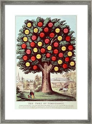 The Tree Of Temperance, 1872 Colour Litho Framed Print by N. Currier