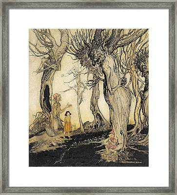The Trees And The Axe, From Aesops Framed Print by Arthur Rackham