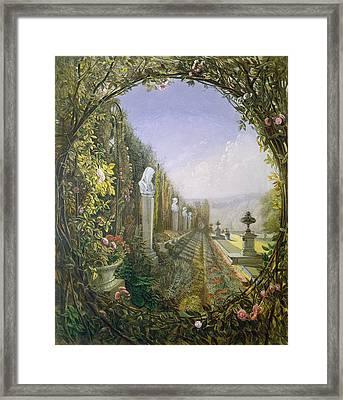 The Trellis Window Trengtham Hall Gardens Framed Print by E Adveno Brooke