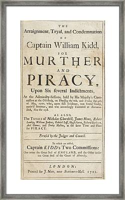 The Trial Of Captain William Kidd Framed Print by British Library