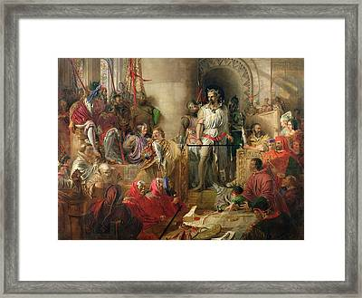 The Trial Of Sir William Wallace At Westminster Oil On Canvas Framed Print