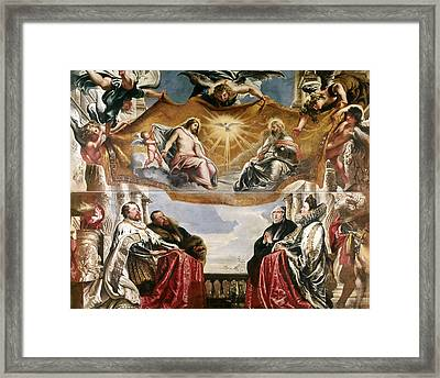 The Trinity Adored By The Duke Of Mantua And His Family Framed Print by Peter Paul Rubens