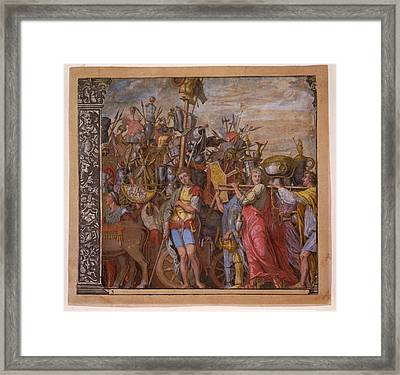 The Triumph Of Julius Caesar - Plate 3  Framed Print by Andreani and Andrea