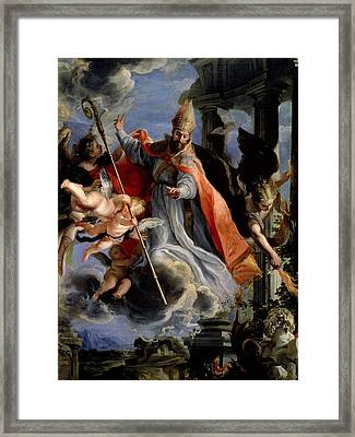 The Triumph Of St. Augustine 354-430 1664 Oil On Canvas Framed Print by Claudio Coello