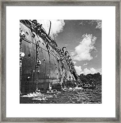 The Troop Carrier, Uss President Coolidge Goes Down In The Harbo Framed Print