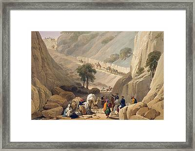 The Troops Emerging From The Narrow Framed Print by James Atkinson