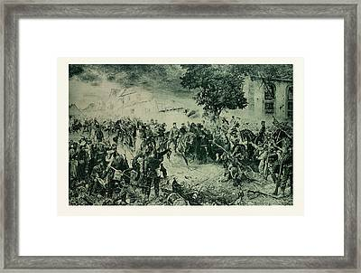 The Troops Of The 3rd Army Greet The Victor Of Woerth Framed Print by French School