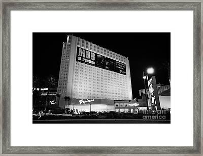 the tropicana hotel and casino at night Las Vegas Nevada USA Framed Print