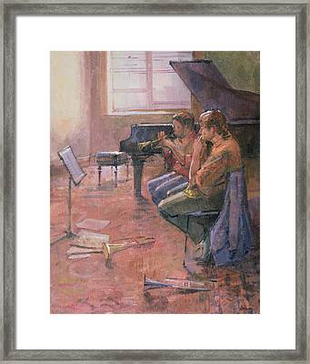 The Trumpet Lesson, 1998 Oil On Canvas Framed Print by Bob Brown