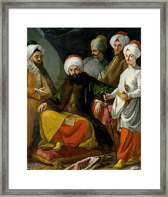The Turkish Ambassador And His Entourage At The Court Of Naples Framed Print by Giuseppe Bonito