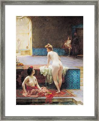 The Turkish Bath, 1896 Oil On Canvas Framed Print by Serkis Diranian