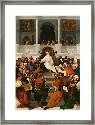 The Twelve-year Old Jesus Teaching In The Temple Framed Print