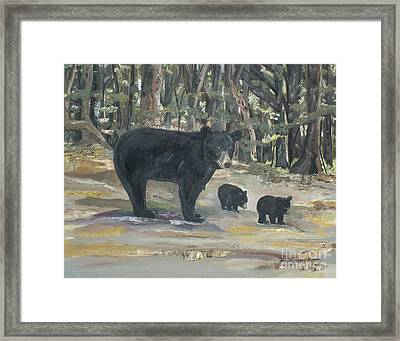 Framed Print featuring the painting Cubs - Bears - Goldilocks And The Three Bears by Jan Dappen