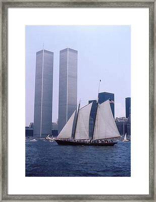 The Twin Towers With The Schooner America 4th July 1976 Framed Print by Terence Fellows