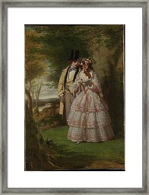 The Two Central Figures In Derby Day Framed Print by William Powell Frith