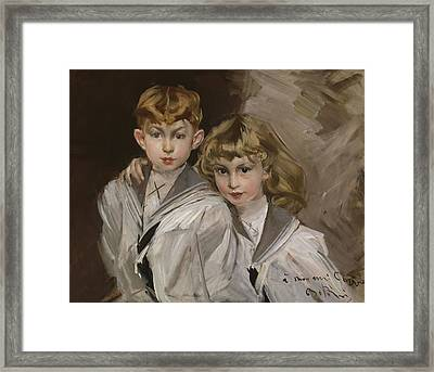 The Two Children Framed Print by Giovanni Boldini