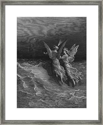 The Two Fellow Spirits Of The Spirit Of The South Pole Ask The Question Why The Ship Travels  Framed Print by Gustave Dore