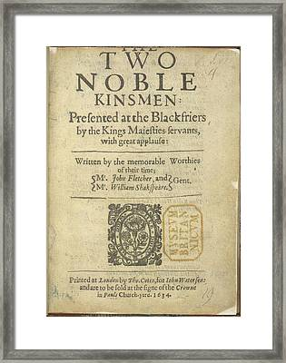 The Two Noble Kinsmen Framed Print by British Library
