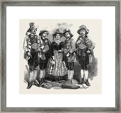 The Tyrolese Minstrels. Mdlle. Margreiter Framed Print by English School