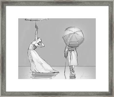 The Umbrellas Framed Print by H James Hoff