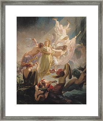 The Undines Or The Voice Of The Torrent Framed Print by Ernest Augustin Gendron