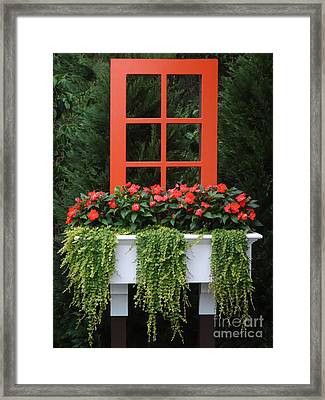 The Unexpected Red Window Framed Print by Ginny Gaura