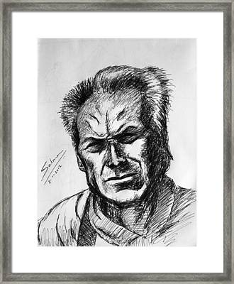 Framed Print featuring the painting Clint Eastwood by Salman Ravish