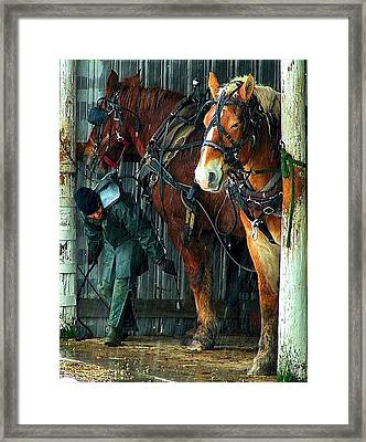 The Unhitching Framed Print by Julie Dant