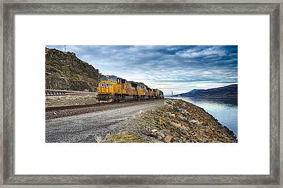 The Union Pacific Railroad Columbia River Gorge Oregon Framed Print